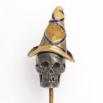 Antique Gold, Silver and Enamel Skull Stickpin