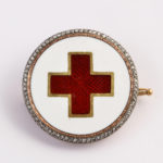 main view, Enamel and diamond Red Cross brooch by Faberge