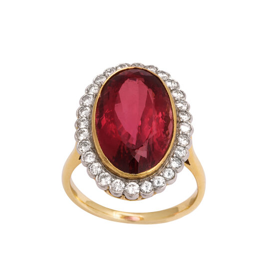 main view, 1960s Red Topaz and Diamond Cluster Ring