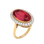additional view, 1960s Red Topaz and Diamond Cluster Ring