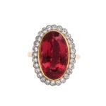 top view, 1960s Red Topaz and Diamond Cluster Ring