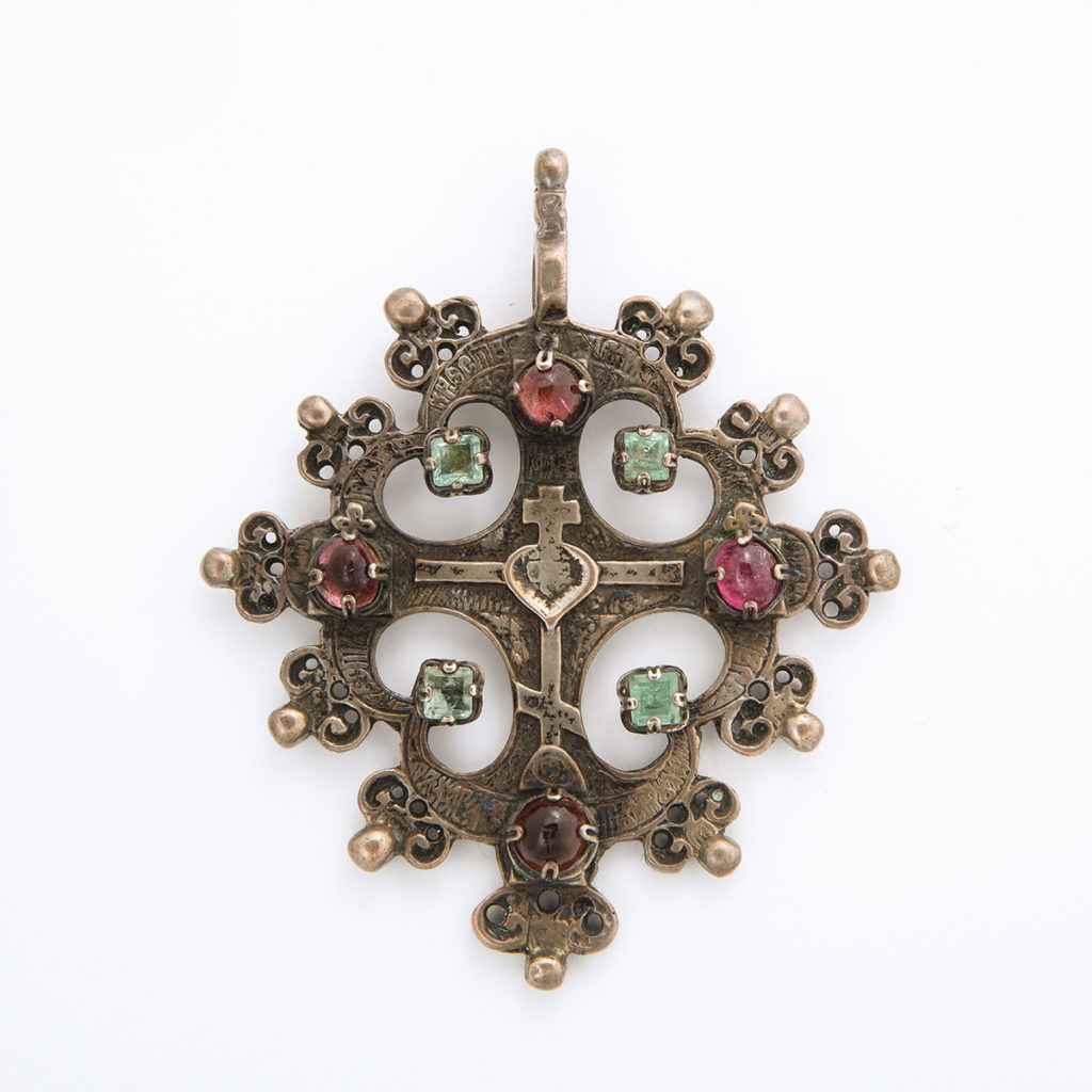 main view, Antique Russian Silver Cross Pendant