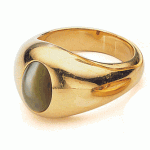 Antique Man's Ring: Chrysoberyl cat's eye