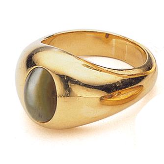 Antique Man's Ring: Chrysoberyl cat's eye