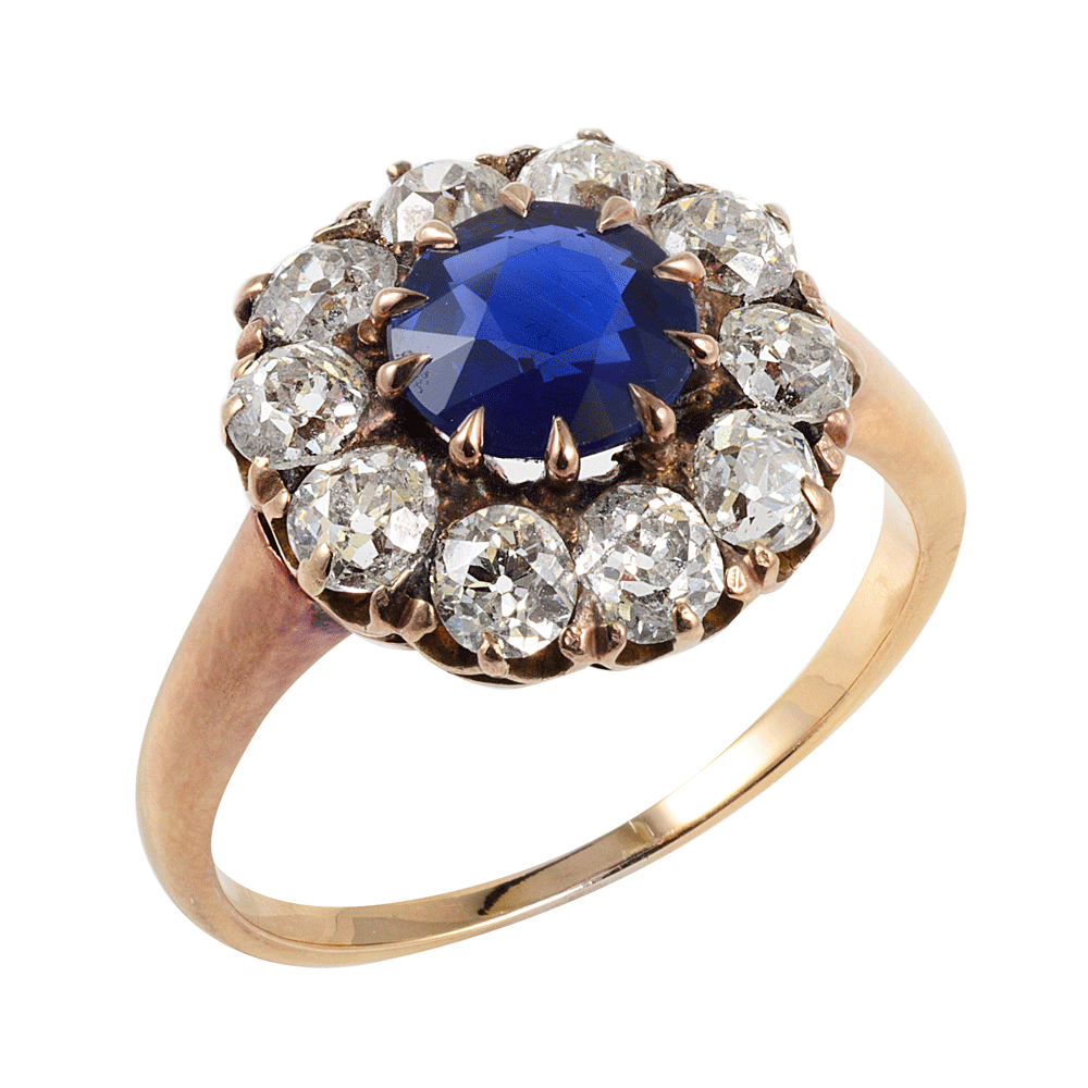 Super A La Vieille Russie| Antique Sapphire and Diamond Cluster Ring  TA14