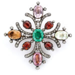 main view, Antique Multi-Gem Maltese Cross Brooch