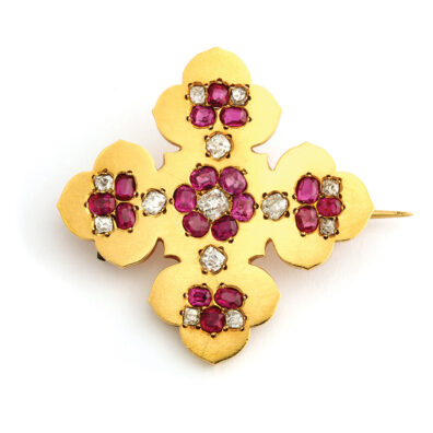 main view, Antique Gold and Gem-set Maltese Cross Brooch