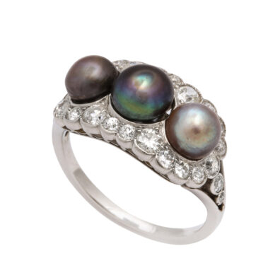 main view, Edwardian Natural Pearl and Diamond Cluster Ring