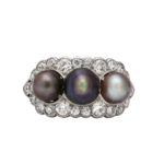 top view, Edwardian Natural Pearl and Diamond Cluster Ring