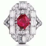 Ruby, Diamond, and Platinum Art Deco Ring