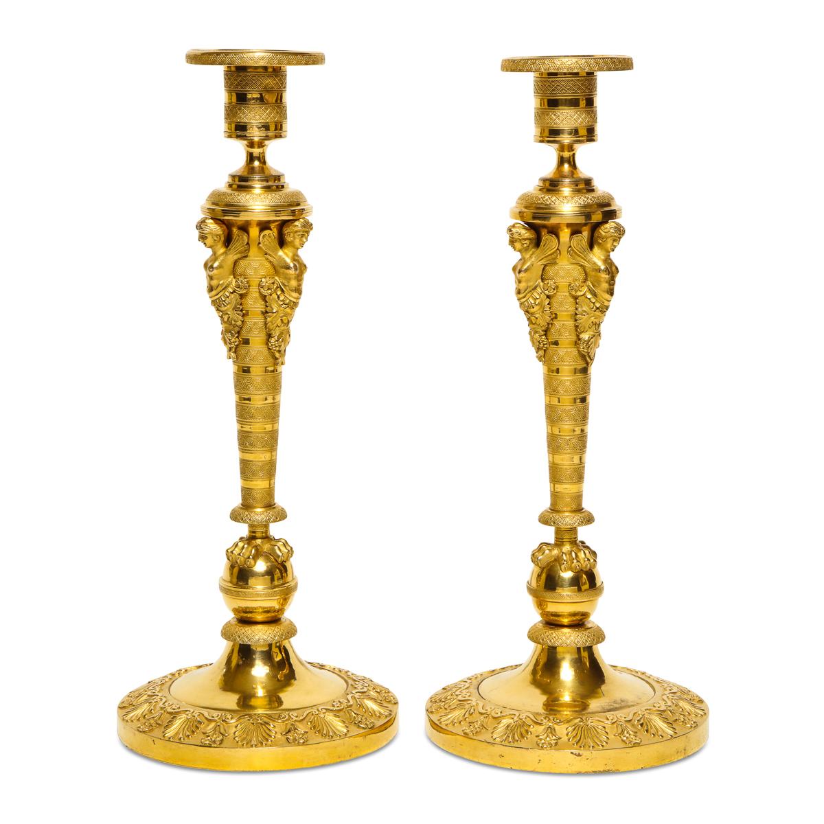 main view, Antique Russian Gilded Bronze Candlesticks
