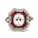 main view, Vintage Ruby and Diamond Cluster Ring