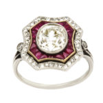 other view, Vintage Ruby and Diamond Cluster Ring