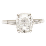 main view, Edwardian Old Mine Cushion Cut Diamond Engagement Ring
