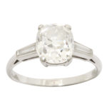 other view, Edwardian Old Mine Cushion Cut Diamond Engagement Ring