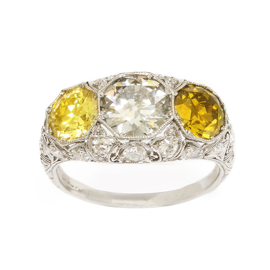 Antique Ring of Three Colored Diamonds