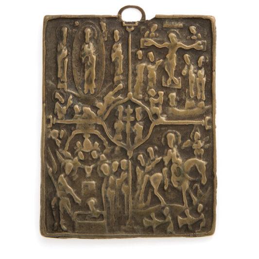 main view, Antique Russian Bronze Icon
