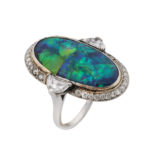 other view, Black Opal and Diamond Cluster Ring