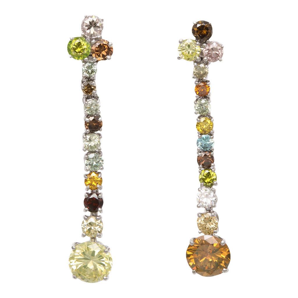 main view of contemporary multicolored diamond pendant earrings