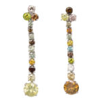 main view of contemporary multicolored diamond pendant earrings