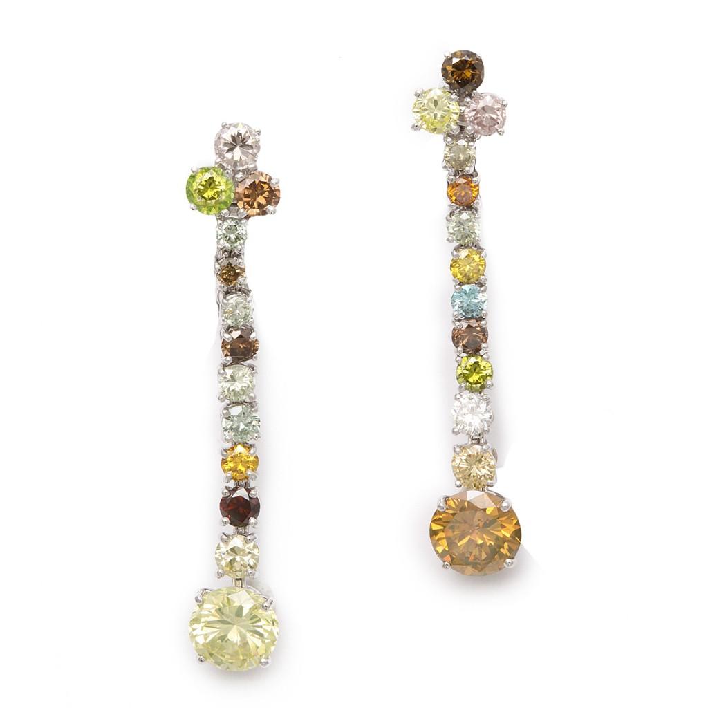 English contemporary multi-colored diamond earrings