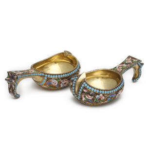 Pair of Russian Antique Silver Gilt and Cloisonne Enamel Kovshi