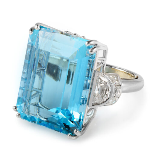 other view facing left, Antique Aquamarine and Diamond Cocktail Ring