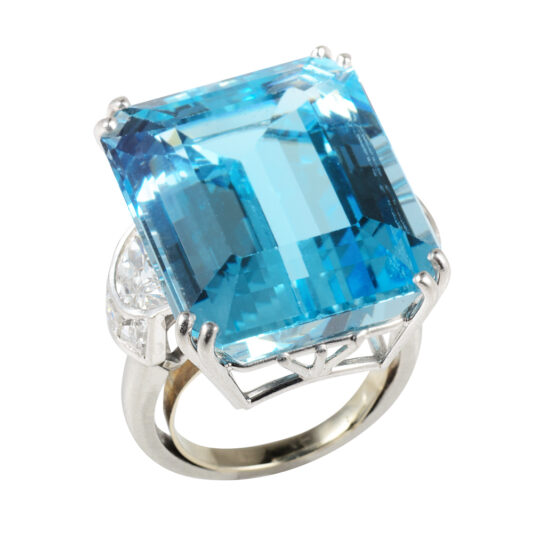 top view, Antique Aquamarine and Diamond Cocktail Ring