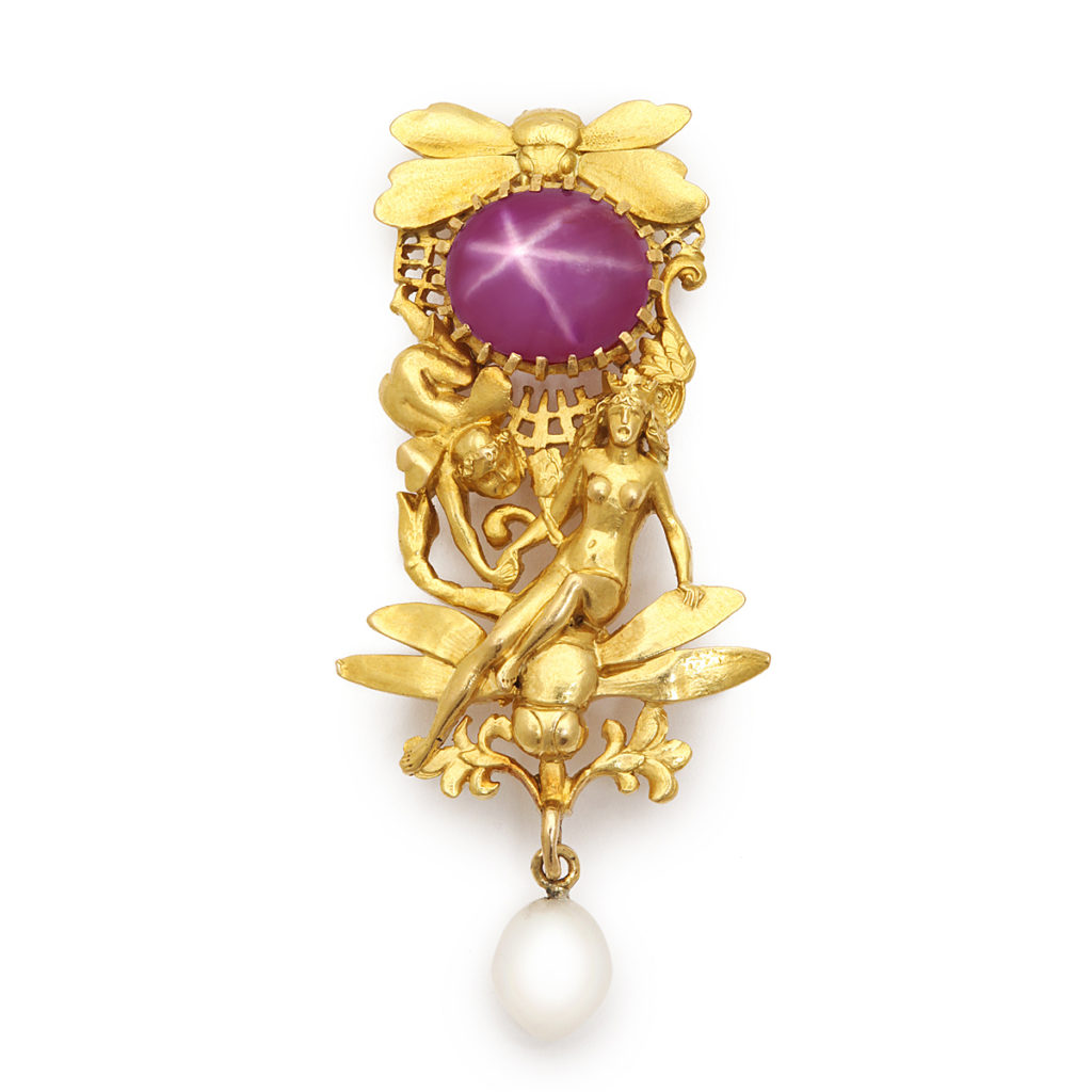 main view, Gold Midsummer Night's Dream Tiffany Brooch with Star Ruby