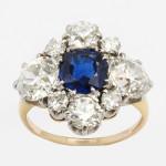 Antique Sapphire and Diamond Quatrefoil Ring