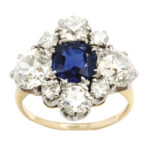 main view, Antique Sapphire and Diamond Quatrefoil Ring