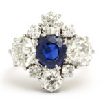 other view, Antique Sapphire and Diamond Quatrefoil Ring