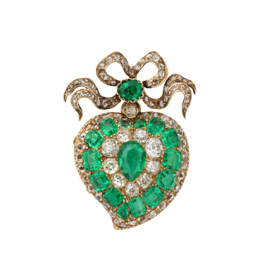 main view, Victorian Emerald and Diamond Heart Pendant