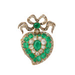 main view, Victorian Emerald and Diamond Heart Pendant