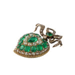 side view, Victorian Emerald and Diamond Heart Pendant