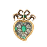 rock crystal back view, Victorian Emerald and Diamond Heart Pendant