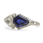 main view, Art Deco Sapphire and Diamond Ring