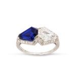 view 2, Art Deco Sapphire and Diamond Ring