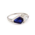 view 3, Art Deco Sapphire and Diamond Ring
