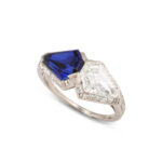 view 1, Art Deco Sapphire and Diamond Ring