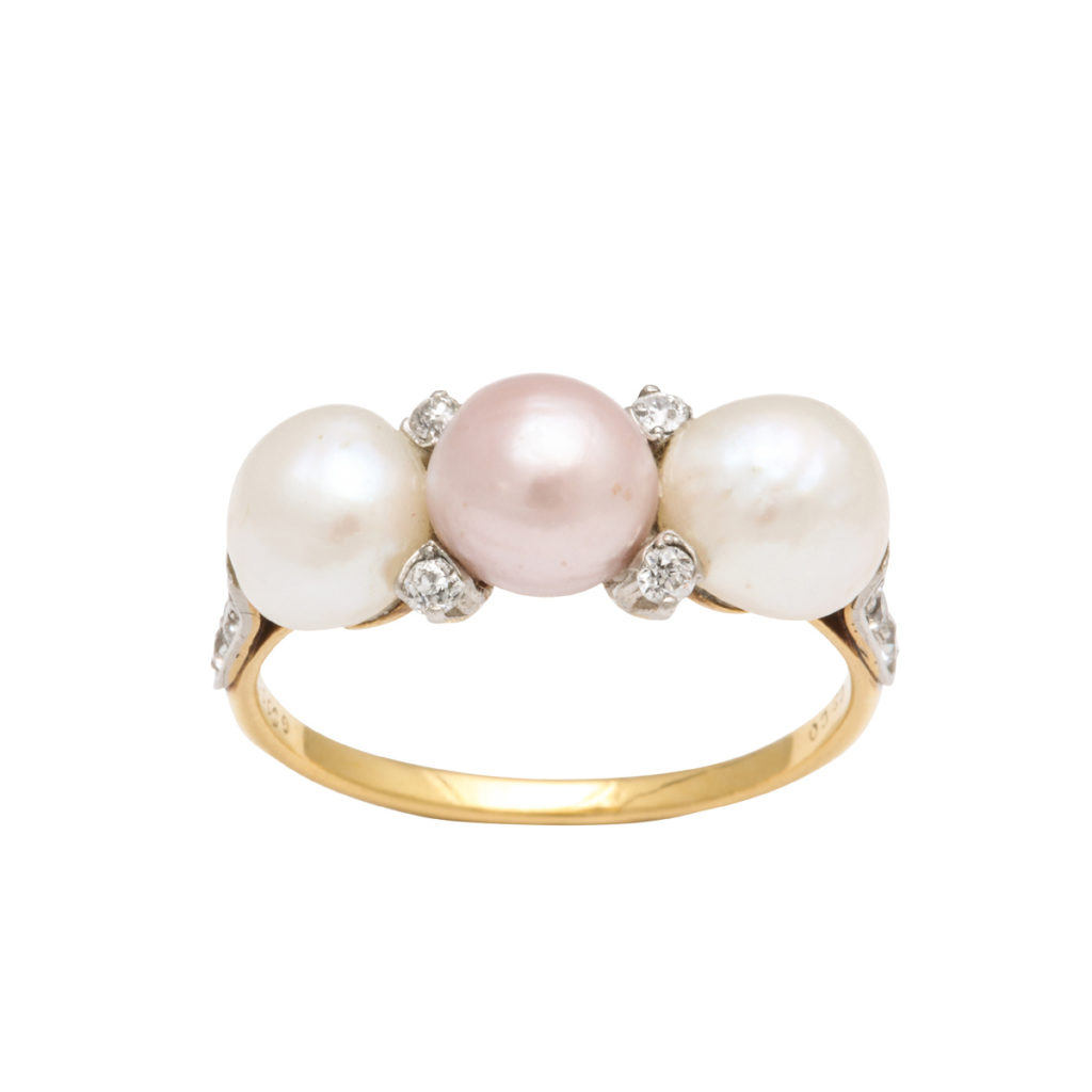 main view, Antique Natural Pearl and Diamond Ring