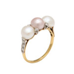 other view, Antique Natural Pearl and Diamond Ring