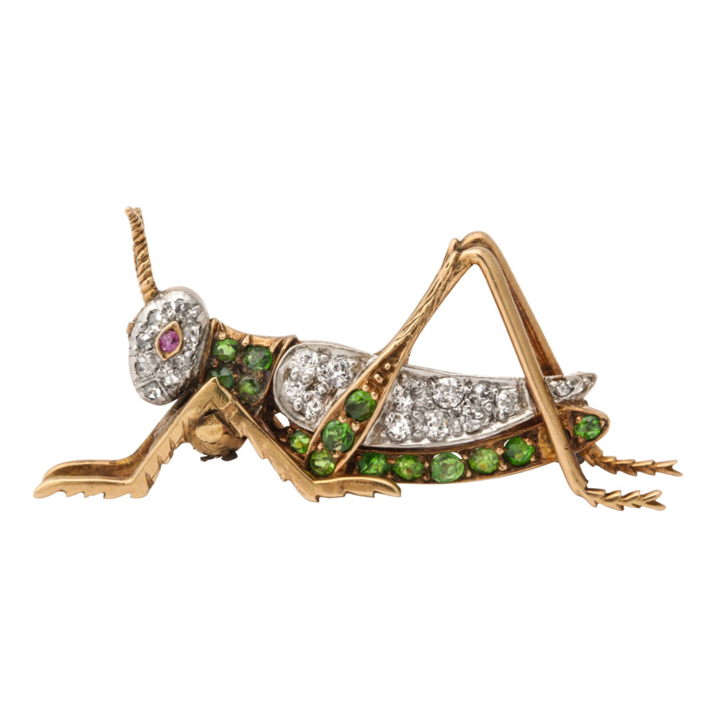 main view, Antique Green Garnet and Diamond Grasshopper Brooch