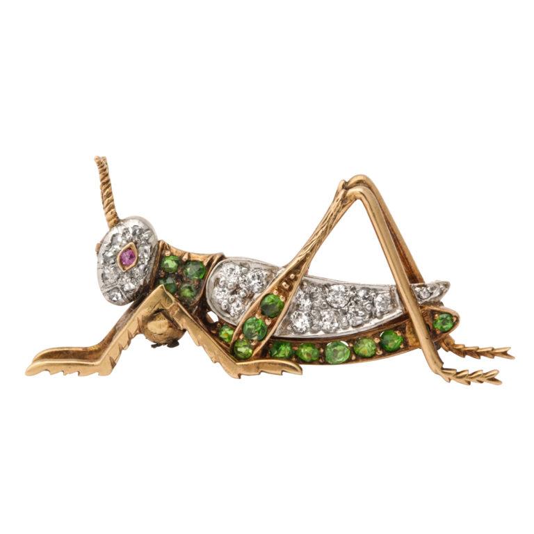 main view, Antique Green Garnet and Diamond Grasshopper Brooch