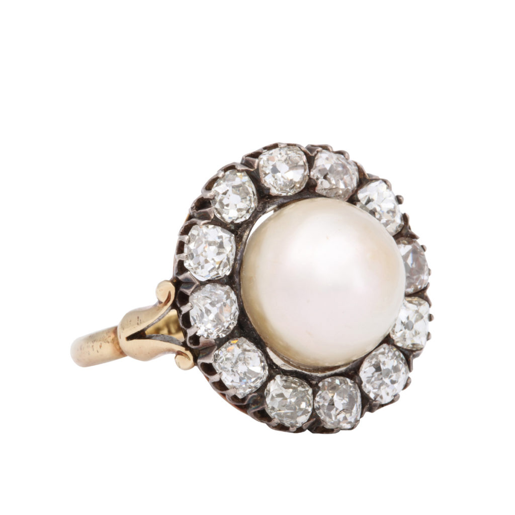 main view, Natural Pearl and Diamond Cluster Ring