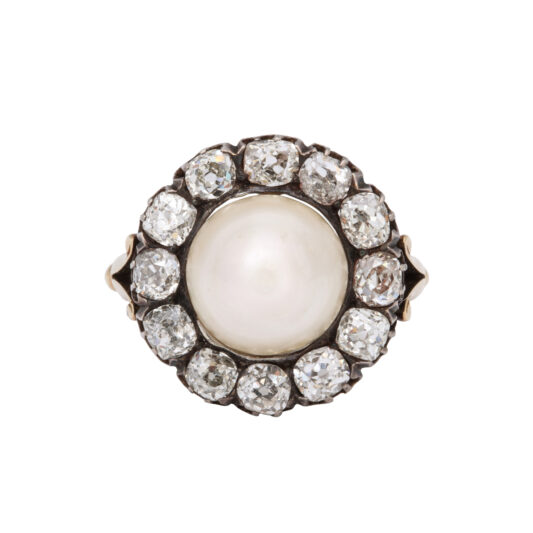 aerial view, Natural Pearl and Diamond Cluster Ring