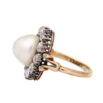 side view, Natural Pearl and Diamond Cluster Ring