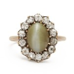 Cat's Eye Chrysoberyl and Diamond Cluster Ring