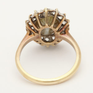 Cat's Eye Chrysoberyl and Diamond Cluster Ring, back