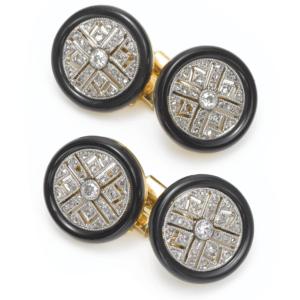 Enamel, Diamond, and Gold 1920s Cufflinks